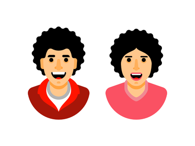 People clothes smile afro hairstyle people man woman character illustration