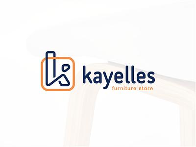 kayelles line stool chair studio furniture square k letter sign logo