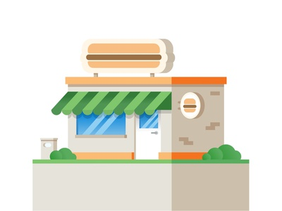 Burger Cafe roof cafe burger signboard trashcan grass bush canopy shadow glare glass door handle door window bricks house building illustration