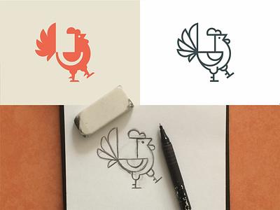Cock flipper pencil sketch bird beak crest figures negative space lines rooster sign logo