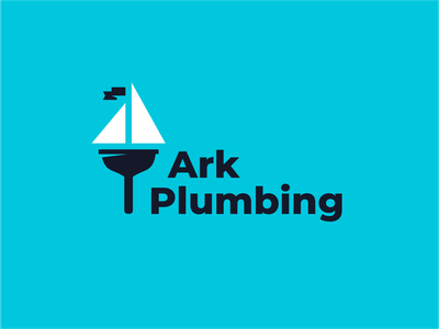 Ark Plumbing flag ocean sea sail ship plunger plumber sign logo