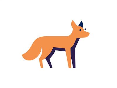 Fox sly tail fox flat animal sign illustration logo