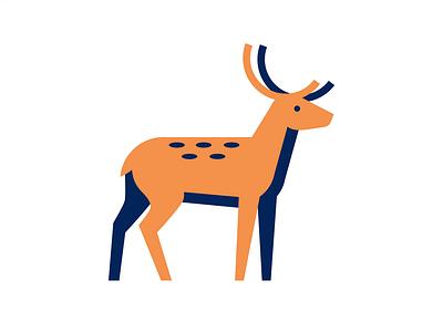Deer flat horns animal elk deer illustration sign logo