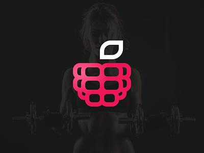 Raspberry fitness man sheet sport fitness press raspberry berry fruit sign logo