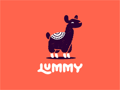 Lummy tablecloth studio sign negative space monochrome logo llama hiwow confectionery character black and white animal