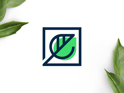 Ecoville leaf hiwow cosmetics plant e letter sheet square sign logo