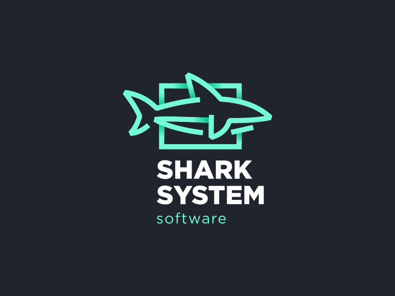 Sharc System hiwow software shark logo line gradient gill fish fin