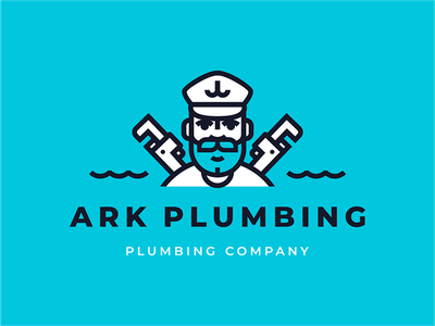 Ark Plumbing branding young waves water sign ship sea wolf hiwow sea sailor plumber ocean mustache logo line illustration beard anchor wrench adjustable