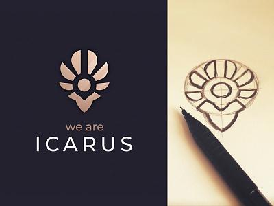 Icarus bird head man wings ikarus branding sign logo