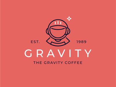 Gravity star mug cup space suit space cosmonaut coffee to go coffee shop coffee logo design branding brand sign logo