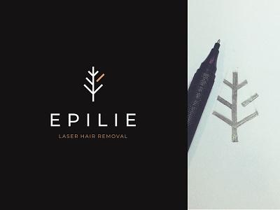 Epilie brand identity logo design laser hair removal laser hair removal zone bikini tree branch branding badge logo