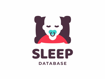 Sleep Database database nipple sleep negative space sleeping pillow man child logo design branding sign logo