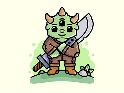 Forest monster print hiwow forest horns eyes sword warrior monster character illustration