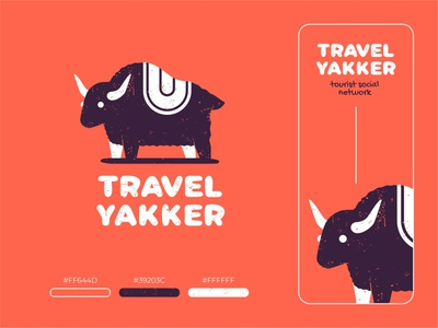 Travel Yakker logos mark logo branding hiwow pattern grunge yak animal sign