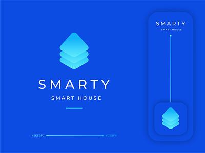 Smarty logodesign brand branding hiwow smart gradient house sign logo
