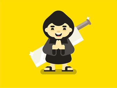 Monk weapon warrior fighter cleaver sword cloak hood hoodie monk person character
