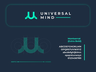 Universal Mind logodesign hiwow glow gradient presentation font construction circle letter sign logo branding