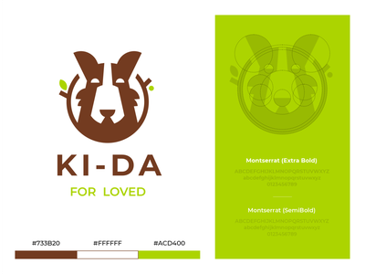 KI-DA hiwow eco negative space friend green leaf stick branches dog pet animal branding sign