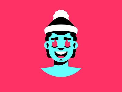 Man in santa hat branding logo illustraion hiwow sticker eyes fire illustration santa claus hat guy man