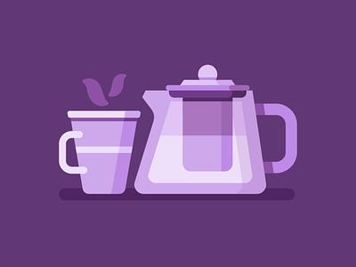 Kettle with a mug illustrations illustration hiwow steam hot glass mug teapot tea flat