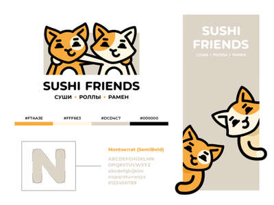 Sushi Friends branding color font hugs cuddling friends delivery rolls sushi redhead lines character kitten cat sign