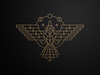 Night-bird raven logo illustration branding texture gold lines wings star moon night bird sign