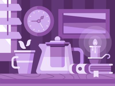 Room print illustration fire shutters window clock painting candle book interior room tea cup teapot night purple