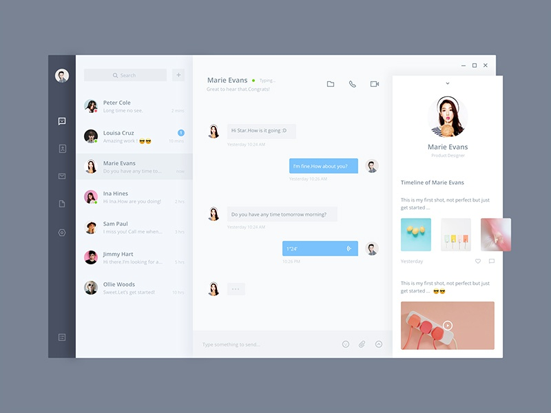 Fluent Design Chat App By Uistar Dribbble