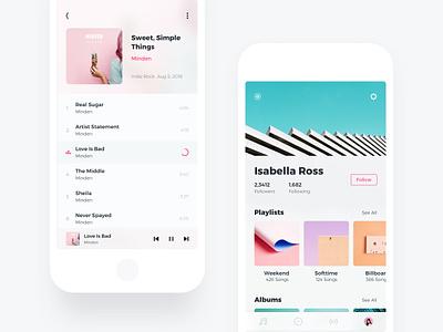 Album/Profile ux ui singer colorful player profile album clean music