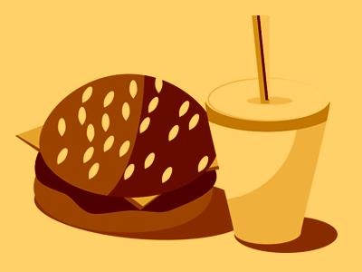 Burger straw burger vector illustration