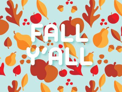 Fall Y'all leaves oak leaves autumn fall acorns pumpkins pears