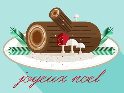 Joyeux Noel holiday pine mushroom yule log christmas french vector bouche de noel flat