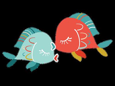 Kissing Fish fish kiss rainbow illustration vector