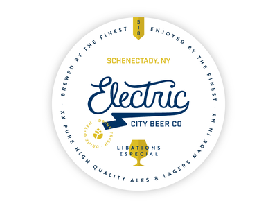 Electric City Brewing Coaster branding typography brewery coaster hand lettering logo