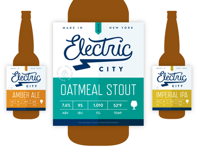 Electric City Label Design logo hand lettering label brewery typography branding