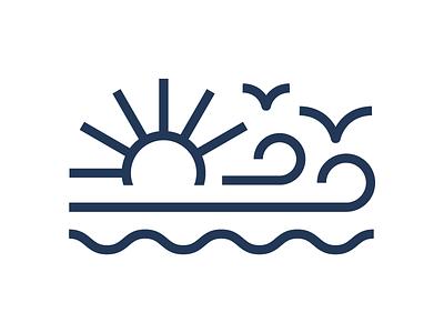 Wind + Water + Sun logo monoline sun water wind