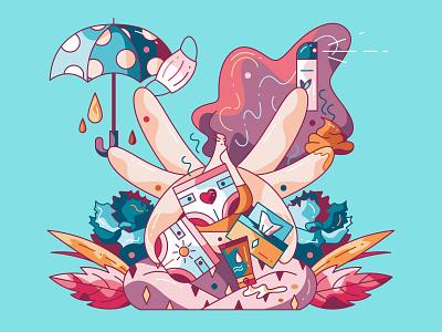 Peece postpartum cute vector illustration hiwow character design newborn baby diaper parenting motherhood mother