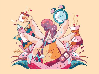 Sleepnot insomnia coffee flat cute character design vector illustration night sleep newborn baby parenting motherhood mother