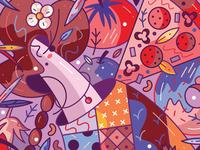 FoodGreedStruggle cute flat unique feminine donut character design vectorart vector illustration illustraion pizza food selfportrait girl portrait