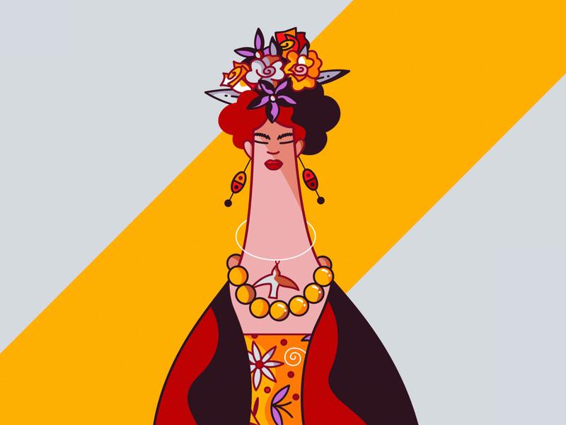 Frida painter flat cute character design vector illustration hiwow surrealist surrealism portrait artist frida