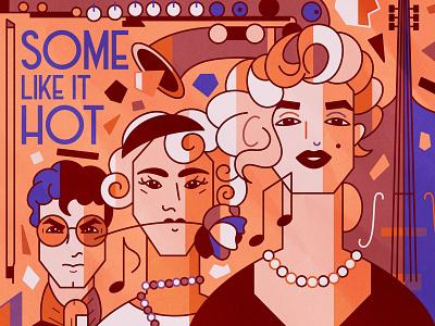 Some Like It Hot characters flat vector art cinema music character design vector illustration illustration retro marilyn monroe movie movie poster jazz