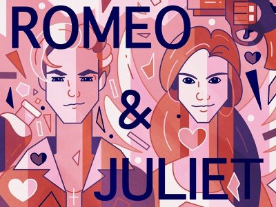 Romeo + Juliet valentine day valentinesday valentines love flat art vector character design characters illustration