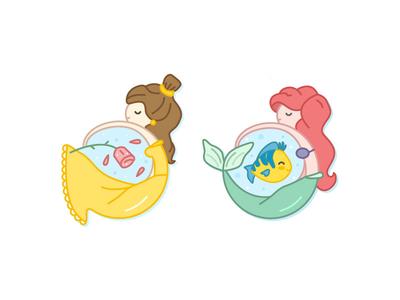 Belle & Ariel icons vector cute princess mermaid beauty and the beast the little mermaid ariel belle disney