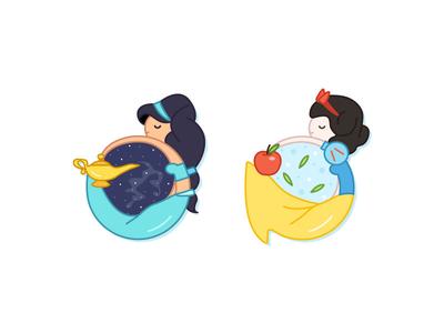 Jasmine & Snow White flat vector cute icons aladdin disney princess disney snow white jasmine