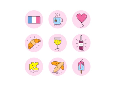 Around the World: French food cheese wine croissant international cuisine kitchen french food french icon set icons