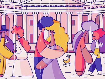 Saint Petersburg tourism travel characters cute flat illustration rain hiwow city russia spb saint petersburg