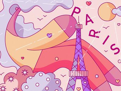 Paris illustration flat cute romance love parisian tour guide french france hiwow tourism travel eiffel tower paris
