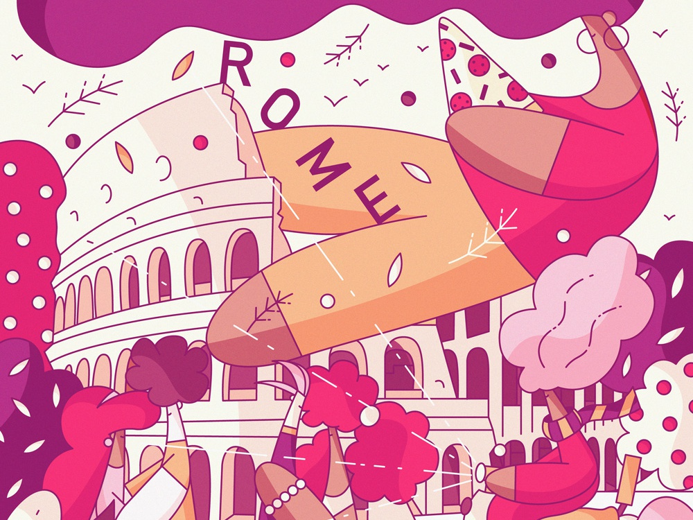 Rome pizza vacation illustration cute postcard character design hiwow colosseum tourism travel italy rome