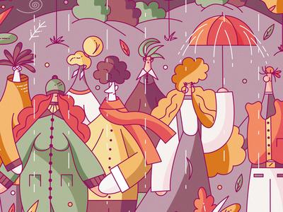 Autumn Lookbook flat vector windy cold character design illustration hiwow rain coat style fashion clothes lookbook october autumn