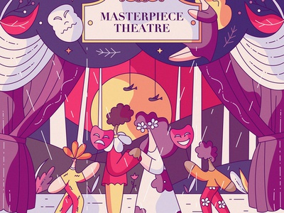 Theatre vector characters musical role acting hiwow stage mask character design cute flat illustration actors play art performance pigment theatre